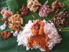 Traditional Kerala food, served on a banana leaf!