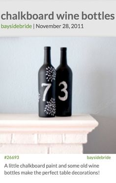 I've always wondered what to do with my empty wine bottles :) a little chalkboard paint could make any party better :)