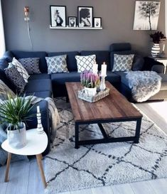 Home Living Room Wood Coffee Tables Ideas For 2019 Living Room Color Schemes, Paint Colors For Living Room, Living Room Designs, Blue Couch Living Room, Living Room Ideas Grey And Blue, Charcoal Sofa Living Room, Bedroom Couch, Living Room Tables, New Living Room