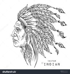 stock-vector-man-in-the-native-american-indian-chief-black-roach-indian-feather-headdress-of-eagle-hand-draw-341737124.jpg (1500×1600)