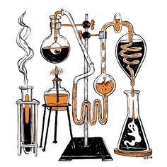 Inktober - Mad scientist laboratory - bottling fame, brewing glory, and even putting a stopper in death. Mad Science, Science Art, Mad Scientist Lab, Art Puns, Chemistry Art, Dark Art, Inktober, Planer, Art Inspo