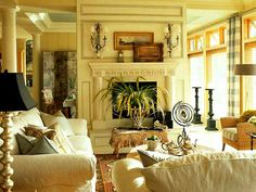 Tuscan living room with walk around fireplace--lighter look