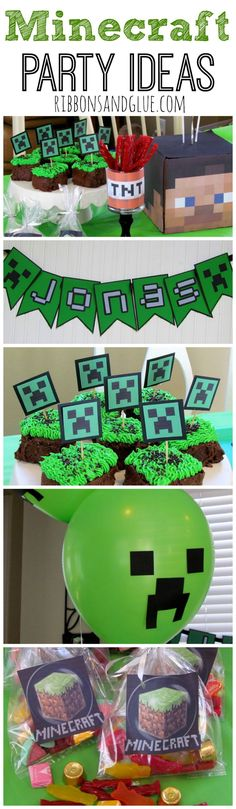 How to throw a Minecraft Party! Ideas on how to make an easy Minecraft Party Cupcakes, Banner, Treat Bags, Balloons and other Minecraft Party decoration ideas.