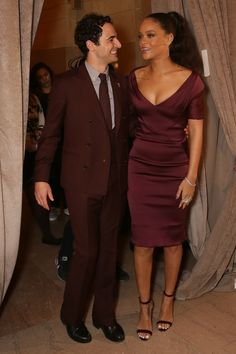 Rihanna at Zac Posen sporting a dress and probably freezing. | 19 Celebrities At Fashion Week Who Forgot That It's Winter