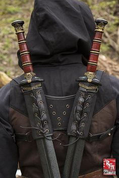 RFB Double Sword Harness - Black Swords And Daggers, Knives And Swords, Katana Swords, Espada Anime, Armadura Ninja, Sword Sheath, Larp Sword, Grandeur Nature, Cool Swords