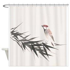 A sparrow and bamboo leaves - Shower Curtain for