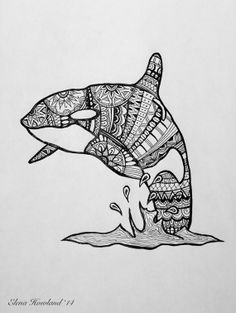 print of an orca whale detailed ink drawing by artwithelena, $20.00