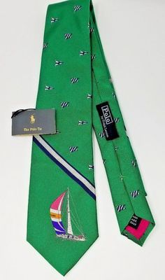 04994b2f2170 Ralph Lauren Polo Silk Tie Green Regatta Silver Blue Yachting Flags 55x3.5  Italy