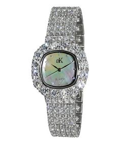 Silver 'Bijou' Mother-of-Pearl Crystal Bracelet Watch
