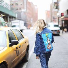 Fashion blogger Emilie Higle wearing denim jacket Daria Maria Design at New York Fashion Week #NYFW