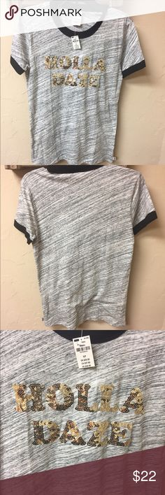 """PINK Victorias Secret Holla Daze Tee Authentic new with tag PINK Victorias Secret short sleeve tee. It has gold sequins with """"Holla Daze"""". Marl gray with black. Women's Size Small. Smoke Free and Pet Free Environment.❗️No Trade❗️ PINK Victoria's Secret Tops Tees - Short Sleeve"""