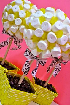 Marshmallow & Lollipop Candy Land Centerpiece Topiary Tree, Candy Buffet Decor, Candy Arrangement Wedding, Mitzvah, Party Favor,. $49.99, via Etsy.