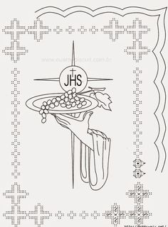 Communion - Nerina D - Picasa Web Albums First Communion Banner, Boys First Communion, Première Communion, Catholic Crafts, Catholic Art, Gold Embroidery, Embroidery Patterns, Parchment Cards, Christian Symbols