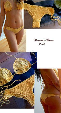 Yellow crochet bikini set.  Handmade cheeky crochet swimsuit. Yelow cotton bikini set. Sexy swimsuit.