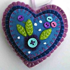 Felt heart ornament Blue and lilac hanging por PuffinPatchwork