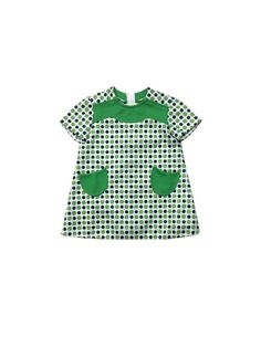 Vintage French baby girl dress 1960s 60s mod green polka dot age 3-6 months