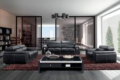 Stylish Design Furniture - Modern Black Leather Sofa Set with Headrests - 2992, $2,640.00 (http://www.stylishdesignfurniture.com/products/modern-black-leather-sofa-set-with-headrests-2992.html)