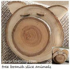 crafts with tree branch slices Wood Log Crafts, Wood Slice Crafts, Wooden Projects, Driftwood Crafts, Tree Branch Crafts, Tree Crafts, Tree Branches, Wood Animal, Outdoor Crafts