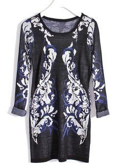Blue Long Sleeve Totem Print Metallic Yoke Sweater Dress - Sheinside.com
