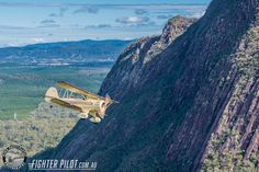 Waco Bi-Plane on a Fighter Pilot Sunshine Coast Australia adventure flight. Photography by Mark Greenmantle. Adventure Company, Coast Australia, Fighter Pilot, Sunshine Coast, Plane, Aircraft, Mountains, Nature, Photography