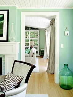 Beautiful Seafoam Green Walls-- this would be awesome in a teen girls room. her bedding would be all black & the HGTV sparkle wall would be done with black sparkles! (insert scream!)