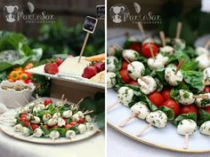 for caprese skewers, toss the mozzarella in an herbed vinaigrette before adding on to the skewer