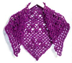 Add color and style to any outfit with one of these triangular scarves or shawls. I have crocheted them using soft acrylic yarn. They fit comfortably wrapped around the neck or draped over your shoulders. These scarves come in two colors, burgundy and lavender-sage.  The scarves measure approximately 48 inches across and 20 inches from top to bottom. To care for your scarf, I recommend washing by hand or on a very delicate cycle and laying flat to dry. This is how I treat all of my crocheted…