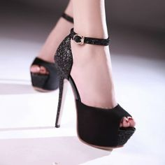 Sexy Peep Toe Black Ankle Strap Fashion Sandals on Luulla Peep Toe Heels, Stiletto Heels, High Heels, Shoes Heels, Pumps, Hot Shoes, Fashion Sandals, Wedding Shoes, Ankle Strap