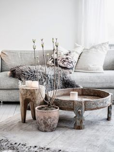 Scandinavian living room with really unique pieces.