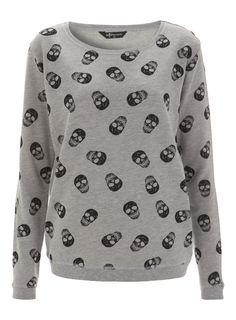 Grey Skull All Over Print Sweatshirt
