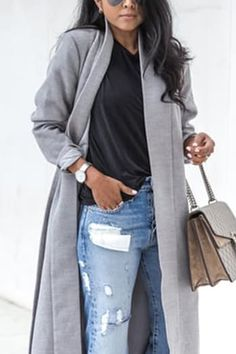 2 of 9 Weekend Outfits You'll Never Want to Take Off Fall 2016  via @PureWow [ One of my VERY Favorites!] DISTRESSED JEANS + LONG COAT + CHAIN-LINK BAG Just be sure to tuck you tee in to keep this from looking a little too undone. Get the look: AYR jeans ($275); Missguided coat ($51); Gucci bag ($1,200)