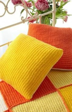 Sunshine Cushion Free Knitting Pattern from Red Heart Yarns & Spud and Chloe Outer 4 Square Pillows Knitting Pattern PDF ... pillowsntoast.com