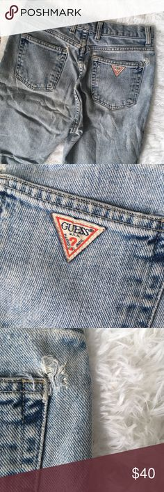 Vintage GUESS Denim Destroyed Grunge Mom Jeans Already worn in to perfect softness and full of character, these vintage Guess jeans feature the iconic question mark logo. Lots of wear all over including distressing/smaller holes. These take me right back to the 90's grunge days. Pair it with an oversize flannel and you're ready to go. Tagged size 29. Great for men or women. Guess Jeans Straight
