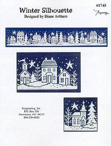 Winter Silhouette - White stitch on navy aida cross stitch pattern Xmas Cross Stitch, Just Cross Stitch, Cross Stitch Charts, Cross Stitching, Cross Stitch Embroidery, Christmas Embroidery, Tapestry Crochet, Knitting Charts, Christmas Cross