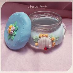 Candle Holder made out from cold porcelain using a jar,