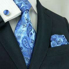 Blue Paisley Necktie Set JPM36A