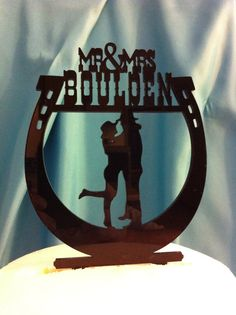 Western Horseshoe Silhouette Couple Mr & Mrs Surname Personalized Wedding Cake Topper