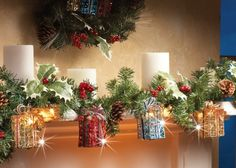Lighted Christmas Gift Box Garland - Add a festive touch by trimming a doorway, mantel, or window. Faux winter greenery garland is decorated with white lights, glittery gift boxes, pinecones and ivy.  Link    #Christmas