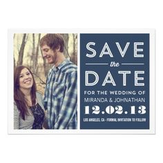 Navy Modern Photo Save The Date Invites #wedding #savethedates #savethedate #couple #bride #groom