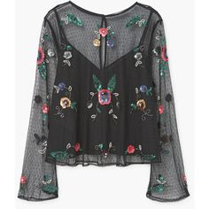 MANGO Embroidered Tulle Blouse ($100) ❤ liked on Polyvore featuring tops, blouses, long sequin top, sequin embellished top, long bell sleeve tops, embroidery blouses and sequin top