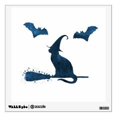 Scary witch cat wall sticker - halloween decor diy cyo personalize unique party