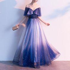 - Navy Fairy Falbala Galaxy Maxi Dress – SpreePicky Prom Girl Dresses, Pretty Prom Dresses, Elegant Dresses, Pretty Outfits, Beautiful Outfits, Cute Dresses, Mini Dresses, Ball Dresses, Evening Dresses