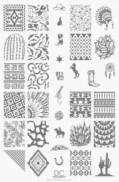 UberChic Nail Stamping Plate - Wild West 01 - UberChic Beauty Stamping Nail Art Plate – Wild nail art stamp plate is perfect for your inner cowgirl! Western and southwestern nail stamp patterns fill this adorable and unique nail stam Nail Art Diy, Easy Nail Art, Cool Nail Art, Nail Art Stamping Plates, Nail Plate, Wild West, Western Nails, Nagel Stamping, Country Nails