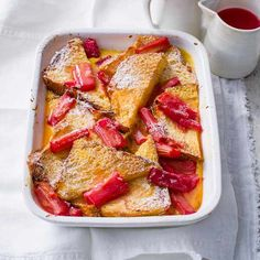 Rhubarb and custard bread and butter pudding