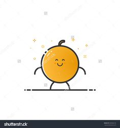 Vector Illustration Of Funny Orange Character Cartoon Isolated In Line Style. Linear Yellow Cute Fruit Icon With Face Smile. Flat Design For Banner, Web Page And Mobile App. Outline Vegan Expression. - 508589218 : Shutterstock