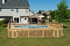 Wood Pool Deck with Lattice Skirting in McHenry County built by Rock Solid Builders, Inc.