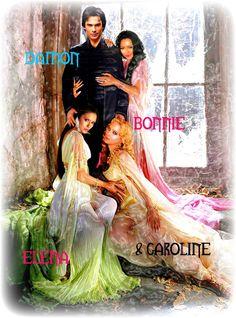 Damon,Elena,Bonnie,and Caroline