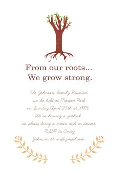 """""""Our roots"""" printable invitation. Customize, add text and photos. print for free! Family Reunion Activities, Family Reunions, Printable Invitation Templates, Free Printable, Printables, Family Reunion Invitations, Family Meeting, Johnson Family, Family Roots"""