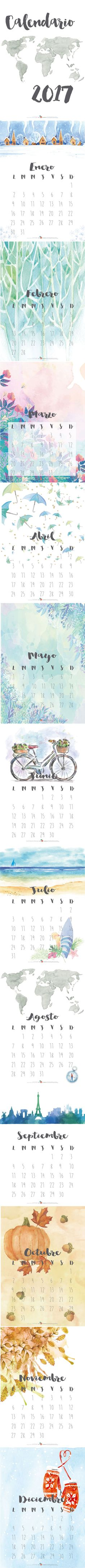 Calendario 2017 descargable gratuito. Disponible en www.miamandarina.es