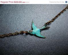 Blue Bird Necklace Teal Sparrow Charm Antique by mycellardoor, via Etsy.